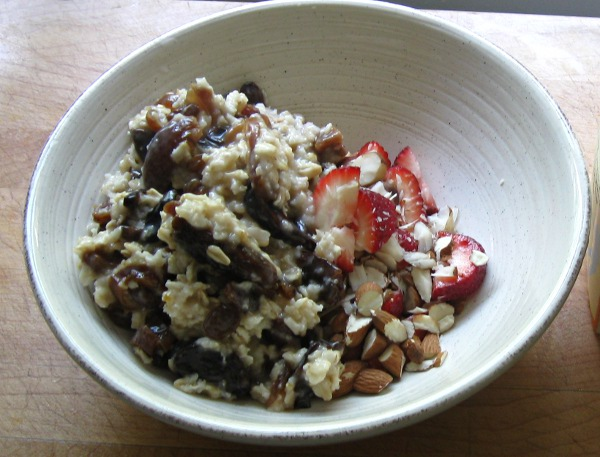 Oatmeal with dried fruit, nuts, and berries