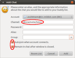 Pidgin: chat settings