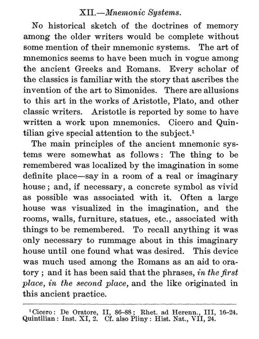 An excerpt from Burnham's Memory, Historically and Experimentally Considered