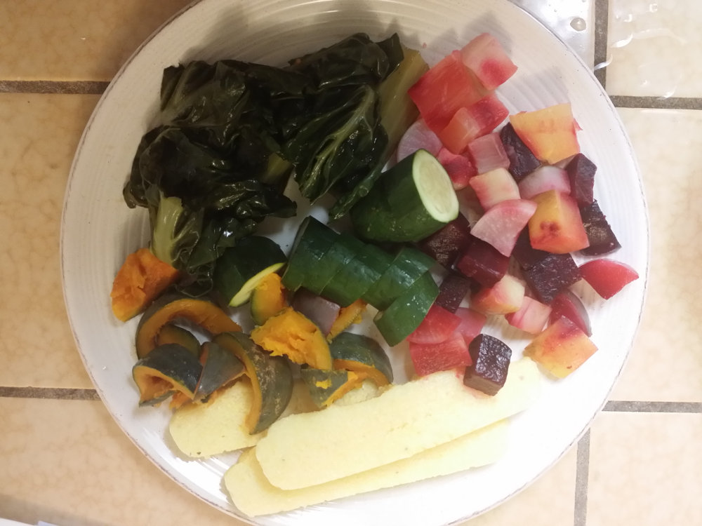 Polenta with steamed vegetables