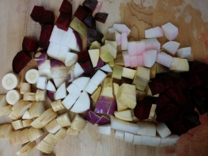 Chopped root vegetables