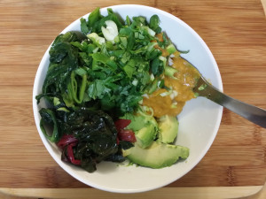 Squash, greens, avocado