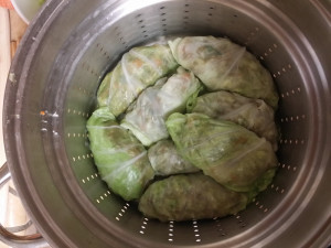 Stuffed cabbage leaves ready for steaming