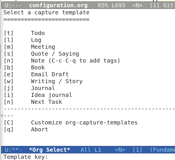 Emacs Org mode capture templates